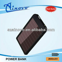 Hot selling newest design 2600mAh Capacity Solar Power Bank for ipad/iphone/pda/gps,innovative power bank