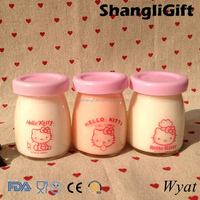 empty small glass milk pudding bottles 100ml 3.5oz