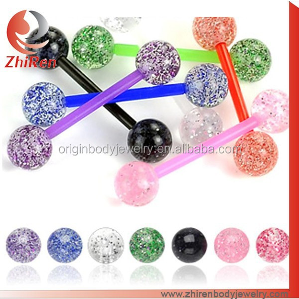 2015 ZhiRen Wholesale transparent Acrylic Barbell ring, glitter Tongue Ring, Glitter Tongue Piercing