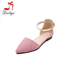 Women's Pointed Toe Ankle Wrap Cover Heel Sandals Lady Buckle Flat Shoes