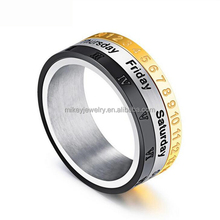 Three color ring calendar week in Roman numerals rotating men's stainless steel ring