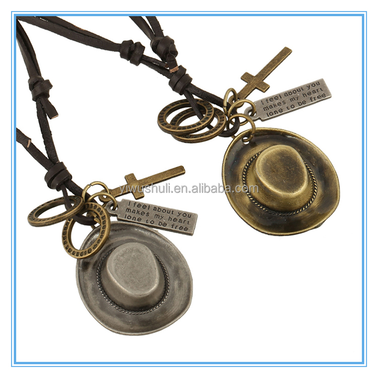 Manufacturer In China Wholesale adjustable hat pendant Zinc Alloy Men genuine Leather Necklace
