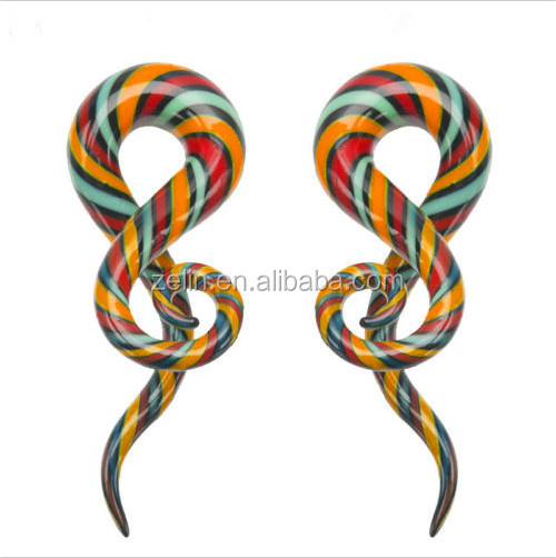 Spiral unique ear taper glass ear taper twisted with color available