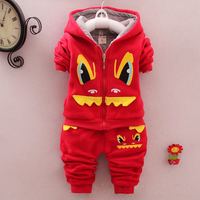 2015 New Winter Little Monsters Cotton Boys Kids Thick Sport Suits Hoodies And Pants 2pcs Clothing Sets CS81107-36
