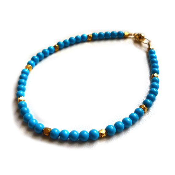 popular 2016 hot sell usa gold metal bead blue bead samoan bracelets