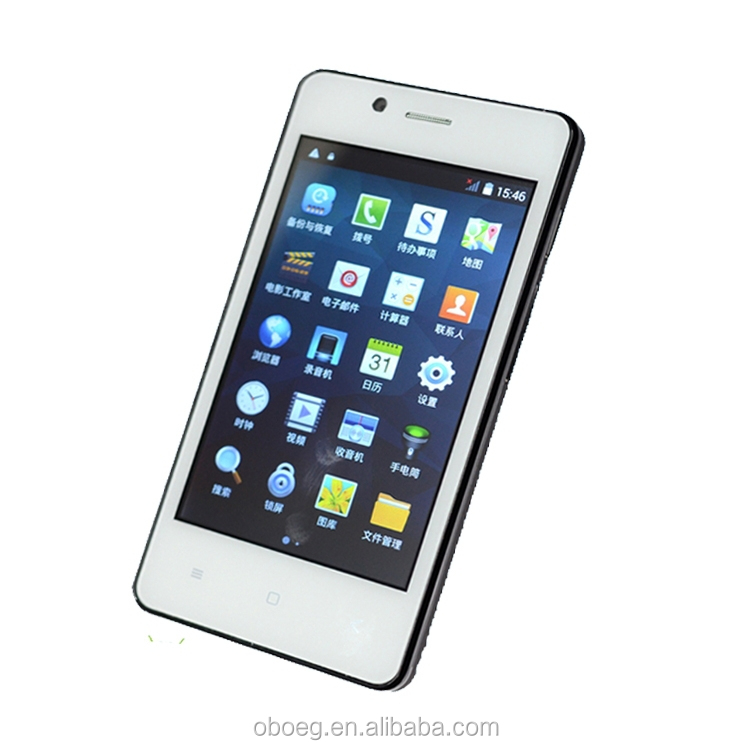 OEM China Cheap touch Screen 4 inch android phone 0.3mp+2.0mp dual cameras 3G dual core smartphone
