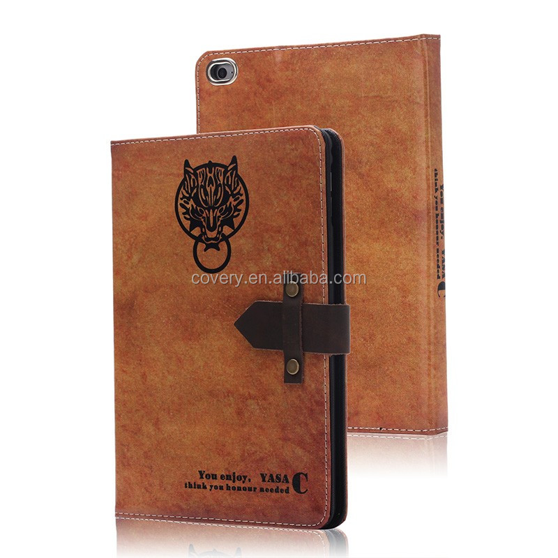 High quality folio pu leather case cover for ipad mini 4 with auto week/sleep