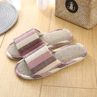 Wholesale custom linen fabric lady and men slippers home indoor sliders flax cotton sandals non slip wooden floor slippers