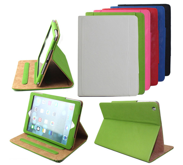 Mix colors Magnetic sleep & wake up factory price Stand leather Flip case for iPad Air 5