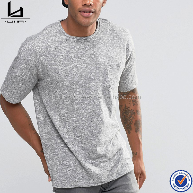 Hot selling plain chest pocket mens t shirts wholesale dropped shoulder 70% polyester 30% cotton t-shirt
