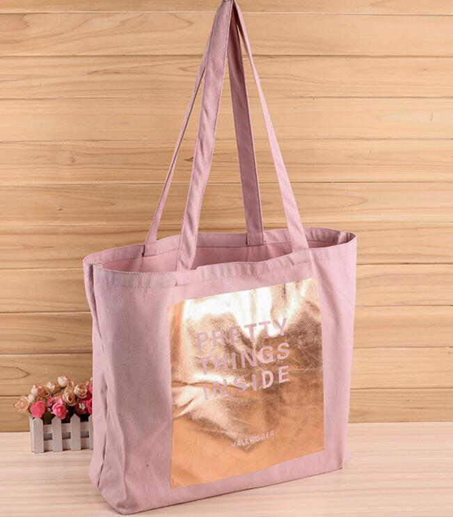rose gold shinny logo stamp cotton <strong>tote</strong> bag