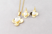 2016 newest stainless steel jewelry set flower 18k gold plated with pearl set