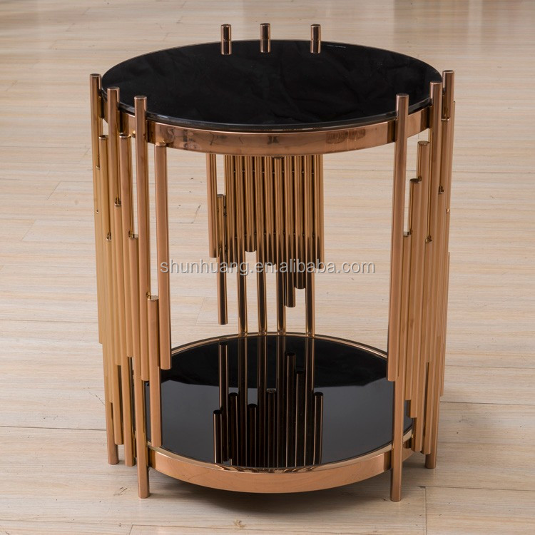 New arrival glass top stainless steel coffee table rose gold finishing metal side table