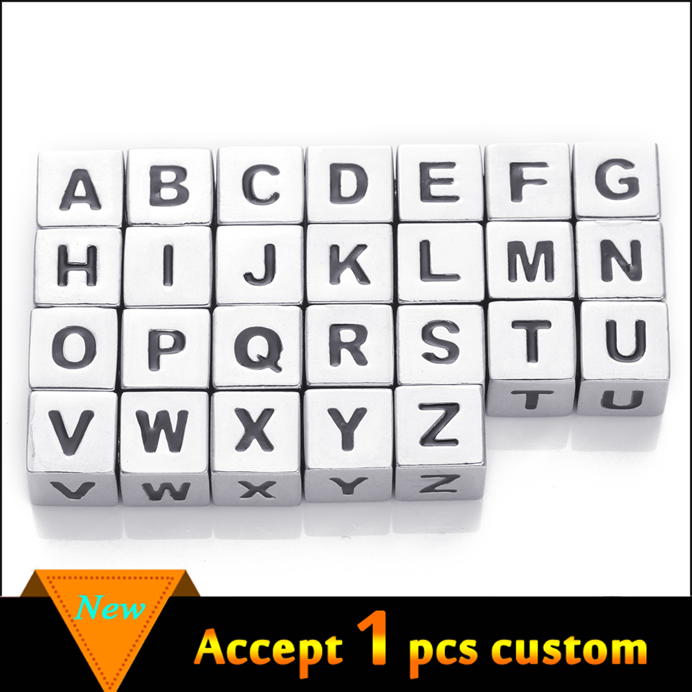 Best Selling Antique Silver Zinc Alloy Beads, 7mm A-Z Metal Alphabet Letter Beads