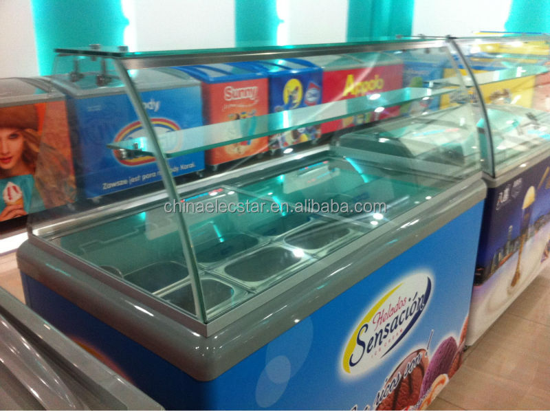cheap ice cream scooping freezer with sneeze guard