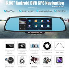 "6.86"" Car Camera DVR GPS Navigation Dual Lens Rearview Mirror Video Recorder FHD 1080P Automobile DVR Mirror Dash cam"
