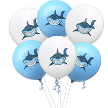 <strong>12</strong>'' Blue and White Latex Baby Shark Birthday Balloons Animal Helium Ballons for Kids Birthday Party Decorations Baby Shower