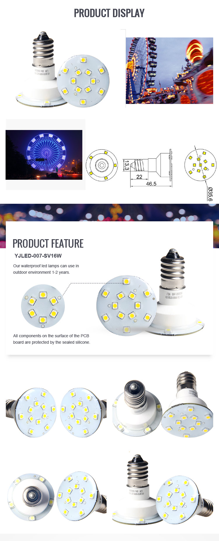 Waterproof E14 bulb AC 110V 220V Waterproof led light single led light
