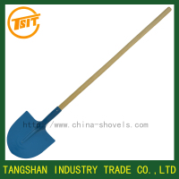 long wooden handle agricultural spade farming garden shovel