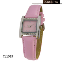 new pink color leather strap japan movt diamond quartz watch