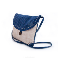 Chinese Grass Linen Eco-friendly Handmade Casual Style Original Indigo Retro Shoulder Bag