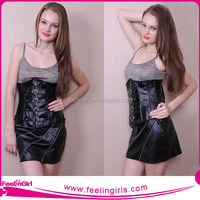 Hot Sexy Women Black Steel Boned Leather Corsets With Zipper