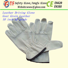 Mens grey goat skin tight leather driving gloves with free samples