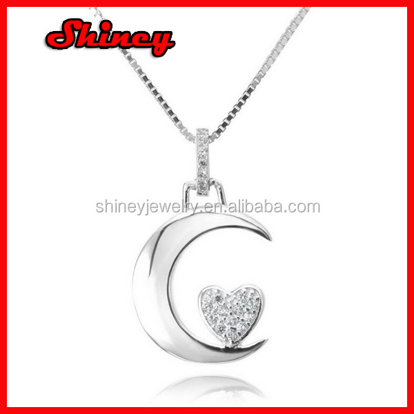 Box chain 925 sterling silver moon and heart necklace