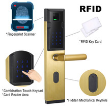 Cheap Combination Keypad Electric Digital Keyless RFID Smart Card Biometric Fingerprint Door Lock Factory