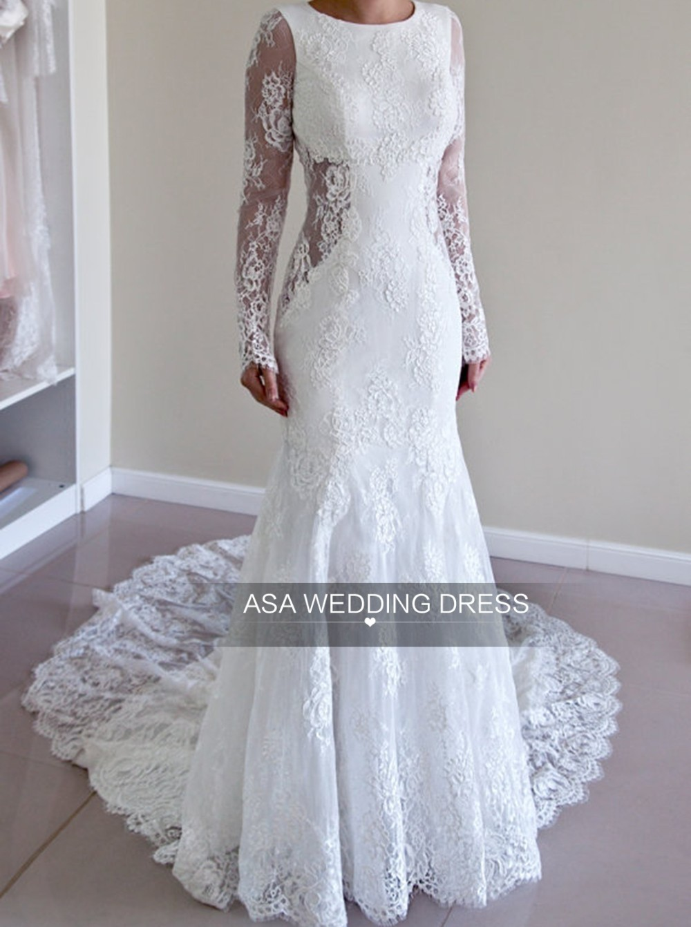 ASWY05 Latest Modern Sexy Mermaid Lace Alibaba Wedding Dress