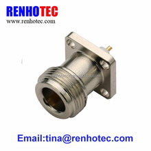 180 degree Flange female bulkhead pcb mount type n connector