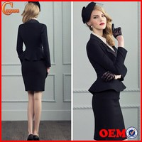 2014 ladies two pieces long sleeve blazer and skirt set women office business suit