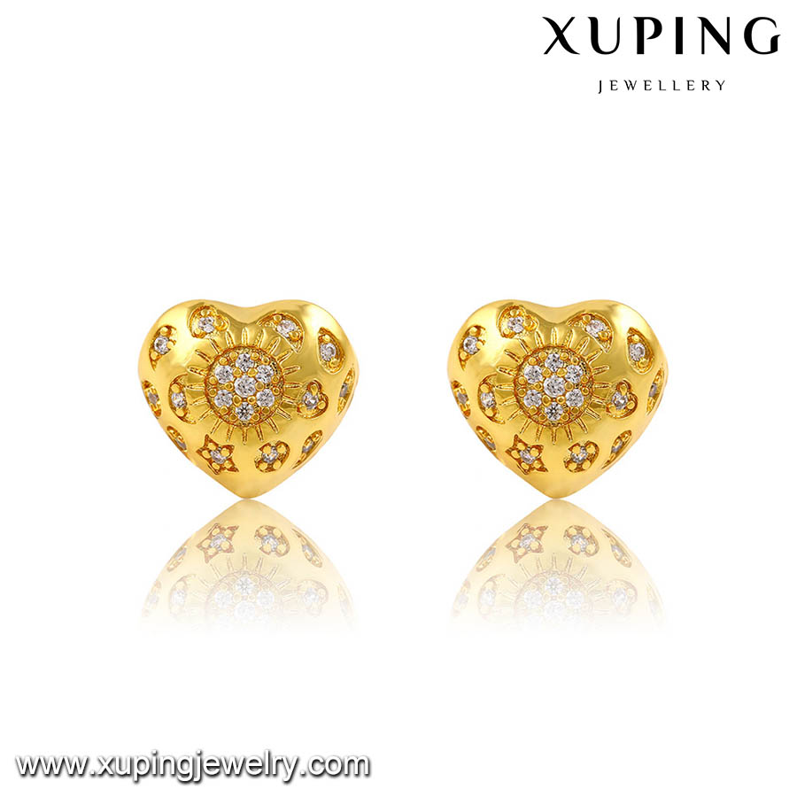 91464 dubai wholesale 24K Gold plated xuping fashion jewelry, heart shaped stud earrings for women