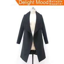 2017 long style imitate 94% polyester black fashion woolen coat for women