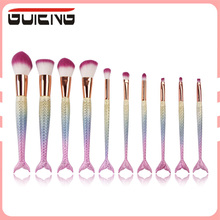 Guteng 2017 Best Selling Cosmetics 10Pcs Mermaid Makeup Brush, Private Label Professional Makeup Brushes Set