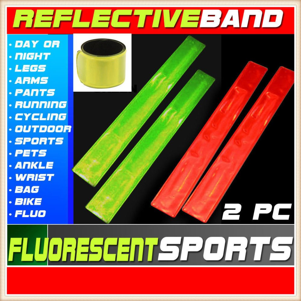4 Slap Bracelets LED Lit Glow in Dark Light Up Kids Safety Reflective Band Fun