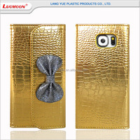 Golden alligator pattern wallet leather phone case for samsung galaxy s6/s6 edge/s6 edge plus, for iphone 6/6s/6 plus