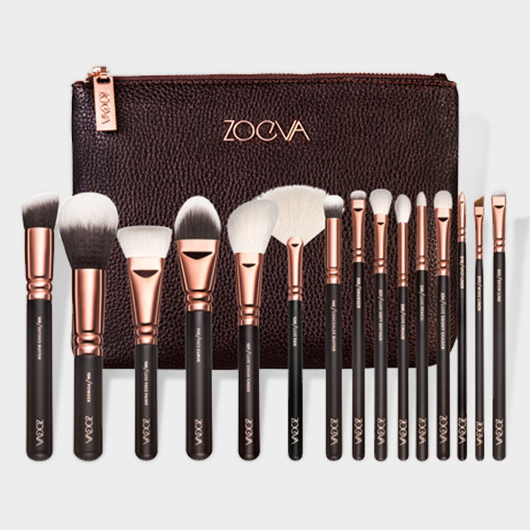 NEW ARRIVAL Rose golden ZOEVA 15 PCS BROWN COMPLETE cosmetic MAKEUP BRUSH SET