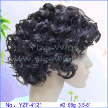 Black Curly Full Hair Wig Water Wavy YZF-4121