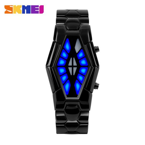 2015 led movt metal case stainless steel back lava iron samurai watch