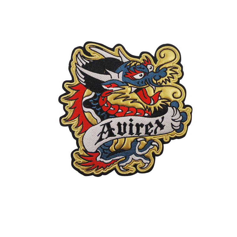 3d custom dragon embroidery patch iron on back