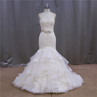 Heavy beading tulle tiered skirt wedding dresses 2014 unique