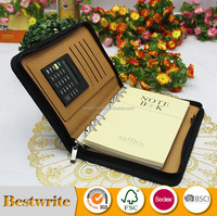 PU Leather Loose Leaf Zipper Notebook With Calculator
