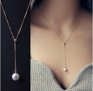 LZ 2016 New Fashion Top Quality simulated pearl Jewelry Sample Style Adjustable Chain Statement Necklace For Women N14