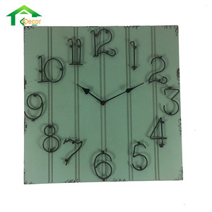 Square Shaped Wall Art And Craft Antique Wooden Clock