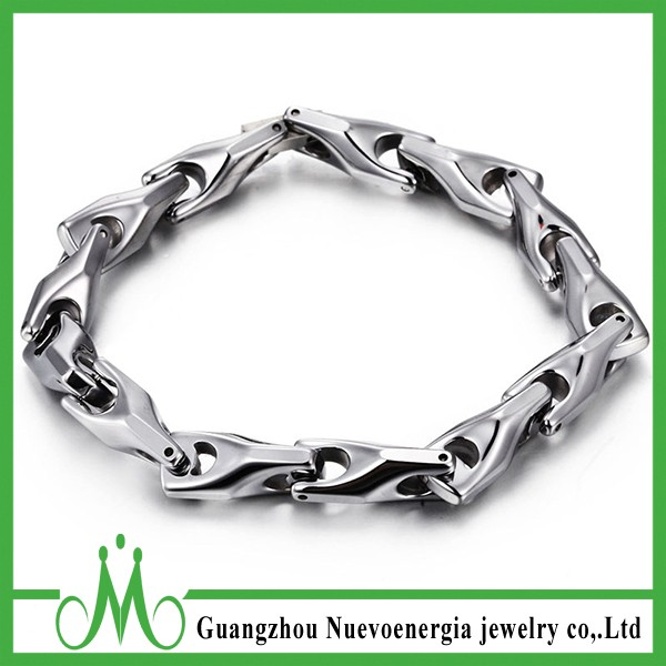 Men's Tungsten Carbide Biker Chain Wholesale Silver Steel Bracelet Jewelry