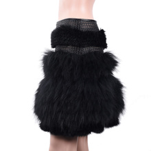 Ladies fashion leather skirt with real fur knitted rabbit/raccon fur skirt KZ160035