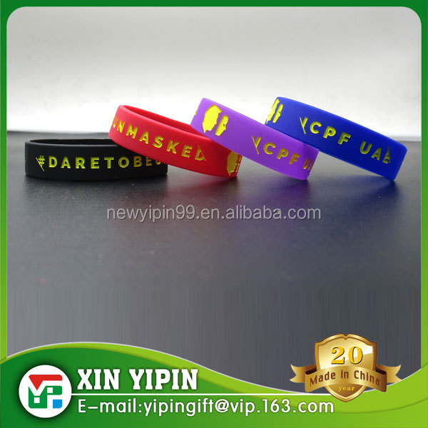China factory colorful silicone rubber bands with custom deboss color fill in logo