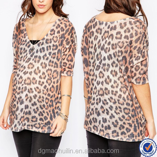 wholesale maternity clothes leopard print maternity top casual wear for pregnant women