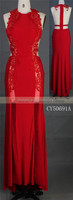 Sexy maxi red knitting fabric satin evening dress party girl dress
